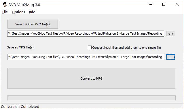DVDVob2Mpg 3.0 VOB to MPG conversion